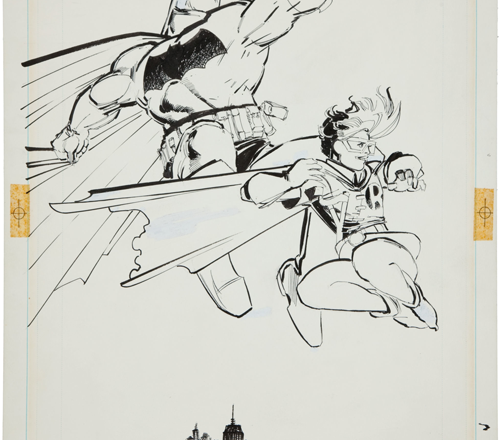 Frank Miller's 1986 Dark Knight Batman & Robin splash page at Heritage Auctions
