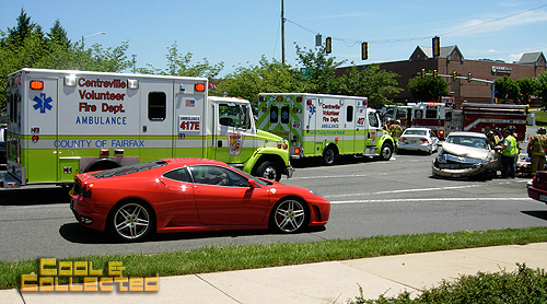 car show ferrari crash
