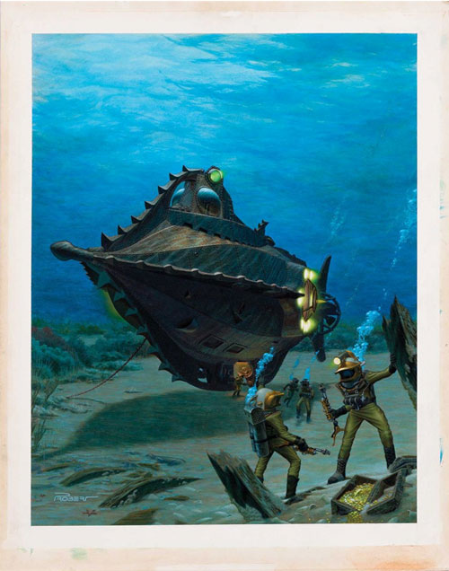 20,000 leagues under the sea original art painting