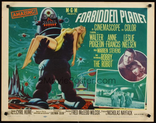 1956 forbidden planet half-sheet movie poster
