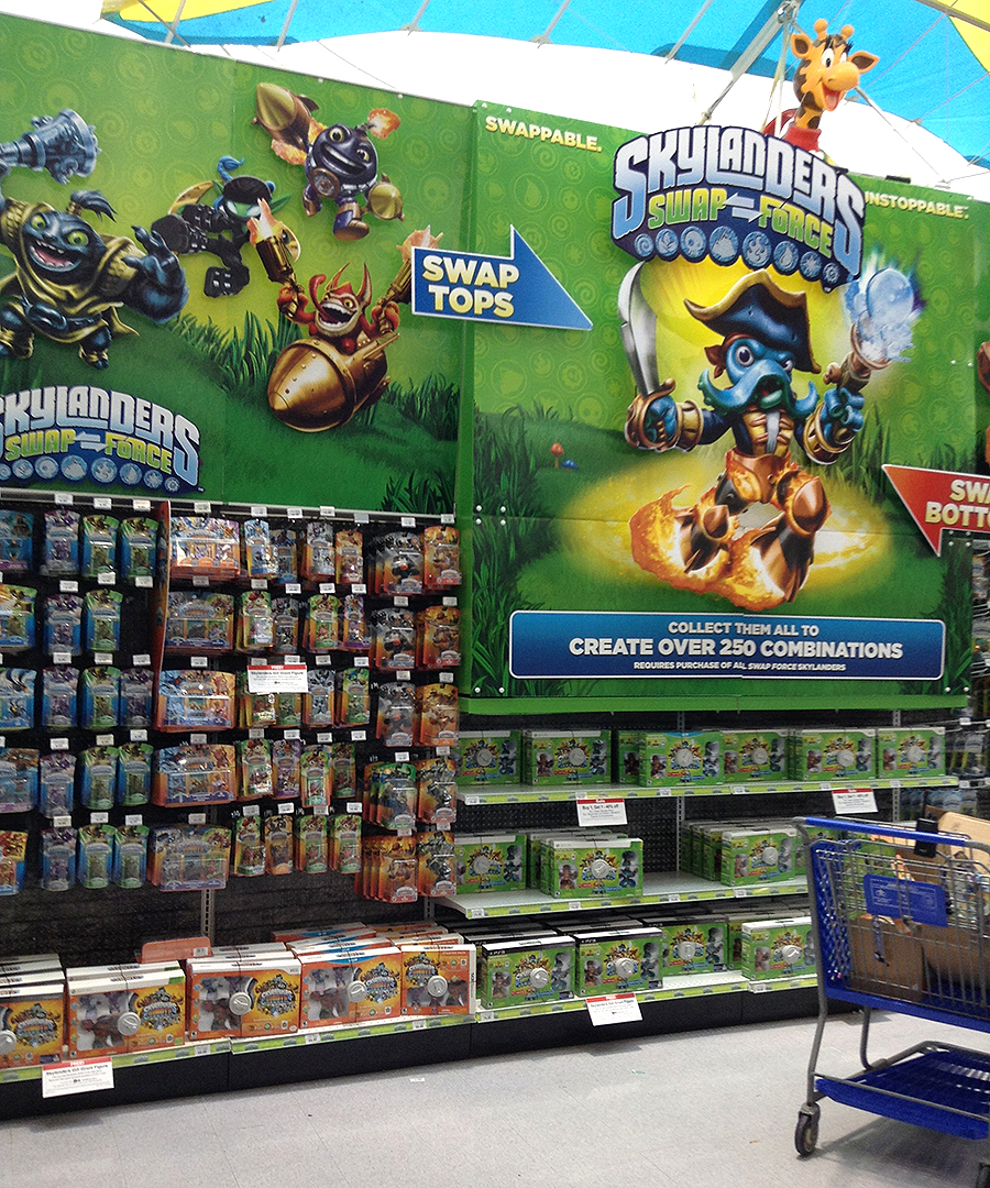 skylanders swapforce Toys R Us store display